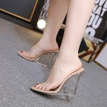 Baibeiqi 섹시 투명한 샌들 크리스탈 2 색 여성 슬리퍼 2020 웨지 힐 신발 슬라이드 하이힐 패션 샌들