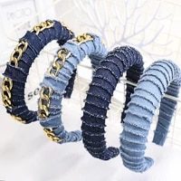 2020 new women denim headband cool denim fabric hair bands hoop with gold chain for women girls twisted fashion hair accessories