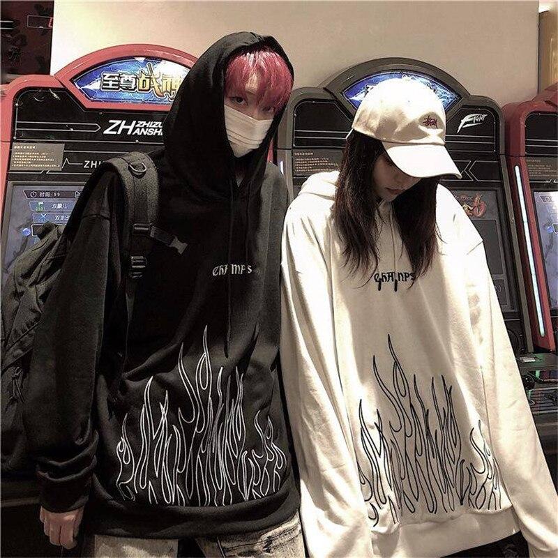 Sudaderas con capucha de otoño negro con estampado de fuego para mujer Casual suelta Hip Hop sudaderas para mujer coreanas High Street Harajuku sudaderas con capucha para hombres y mujeres