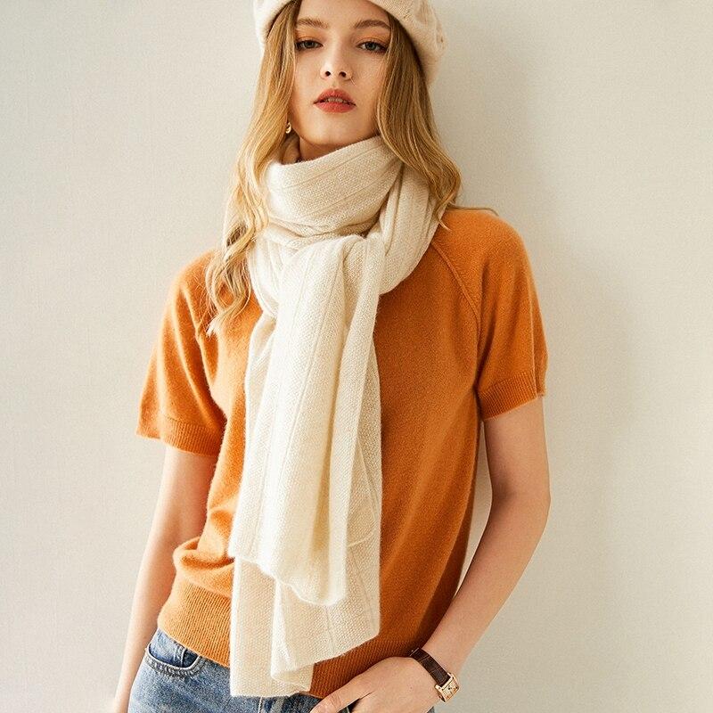 حار بيع 100% الماعز الكشمير الحياكة وشاح المرأة 200*50 سنتيمتر 2020 الشتاء الخريف جديد أزياء سميكة الدافئة والناعمة والأوشحة للسيدات