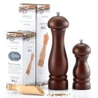 rubber wood salt pepper mill spice grinder set handheld seasoning mills ceramic grinder kitchen bbq tools spice nut grinders