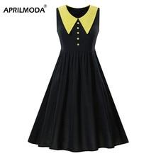 Peter Pan Collar 50s Rockabilly Dress Yellow Black Patchwork Cotton Audrey Hepburn Plus Size High Waist Retro Big Swing Dresses