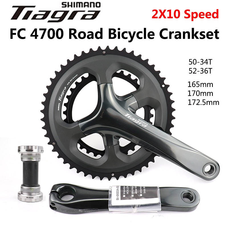 Shimano Tiagra FC 4700 rennrad Kurbel 2x10 Geschwindigkeit 50-34T 36-52T 165mm 170mm 172,5mm Straße Fahrrad Bike HOLLOWTECH II Kurbelgarnitur