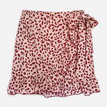 Womens Ruffle Dot Print Summer Skirts High Waist With Belt Split Casual Ladies Mini Skirt 2020 Fashion Streetwear Female Skirts