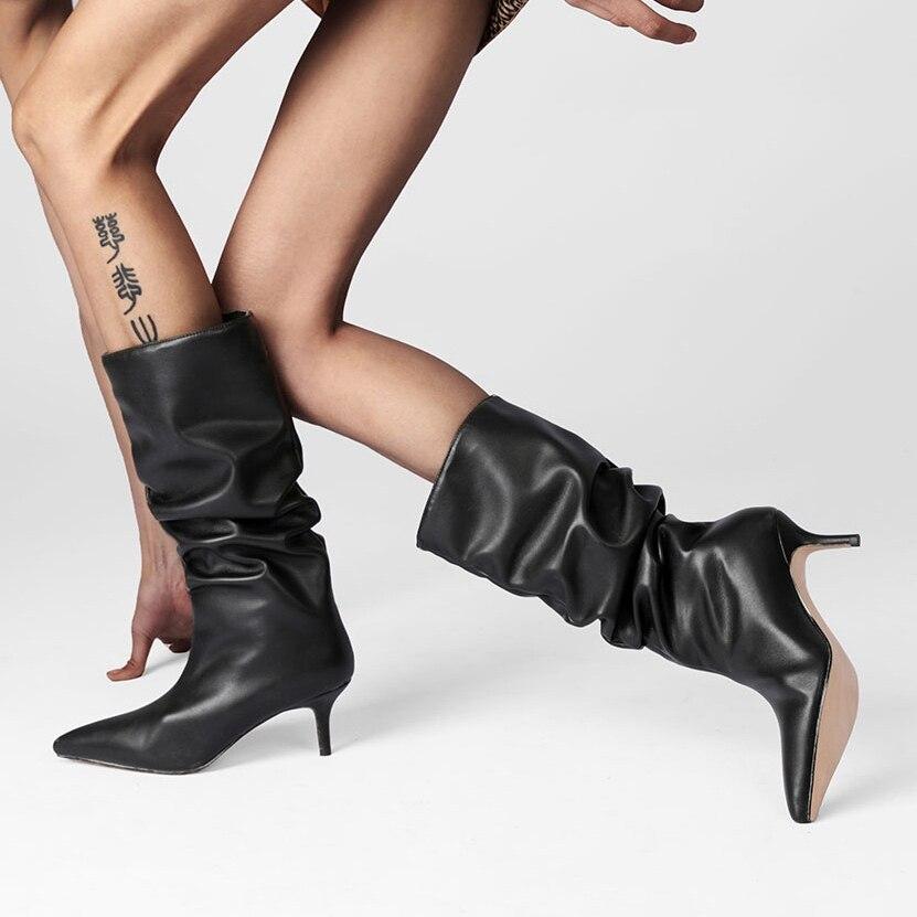 مطوي منتصف العجل الأحذية الصلبة الأسود بورجوندي فستان أحمر المدرج النساء أحذية رقيقة عالية الكعب مثير أشار تو فستان النساء الأحذية