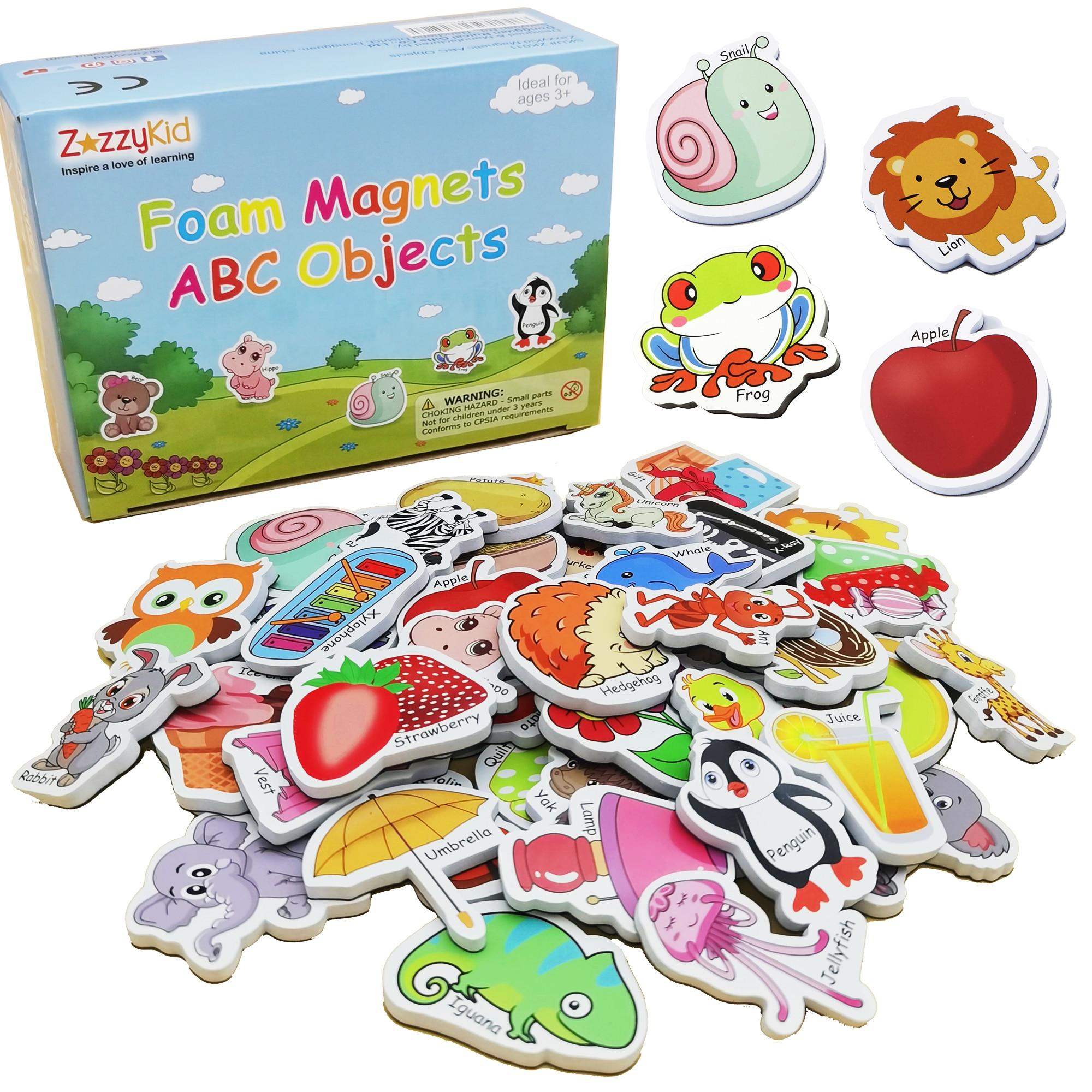 ZazzyKid كائنات رغوية مغناطيسية للأطفال: 52 لعبة من ABC الأبجدية مغناطيس الثلاجة للطفل التعليم المبكر