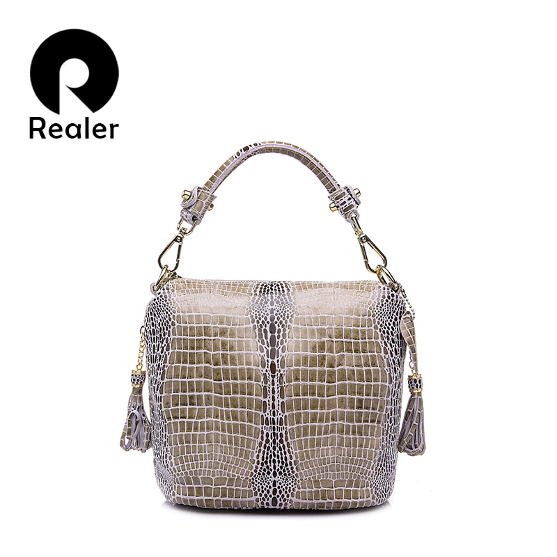 AliExpress - REALER genuine leather handbags women small totes shoulder crossbody bags ladies classic serpentine pattern leather bucket bag
