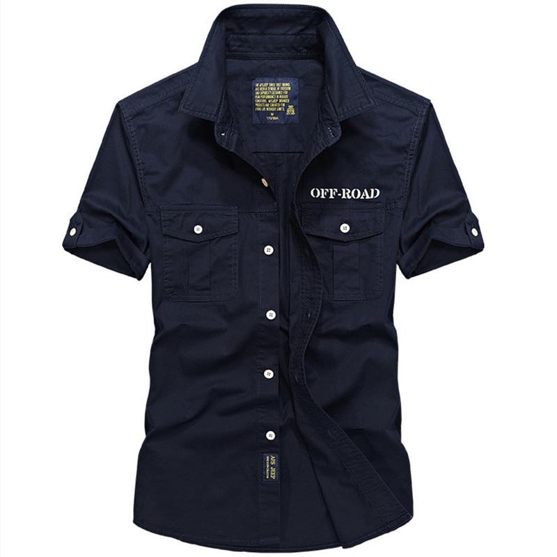 Рубашка мужская уличная с короткими рукавами, тонкая хлопковая рубашка в стиле милитари, для отдыха, Прямая продажа с фабрики, лето
