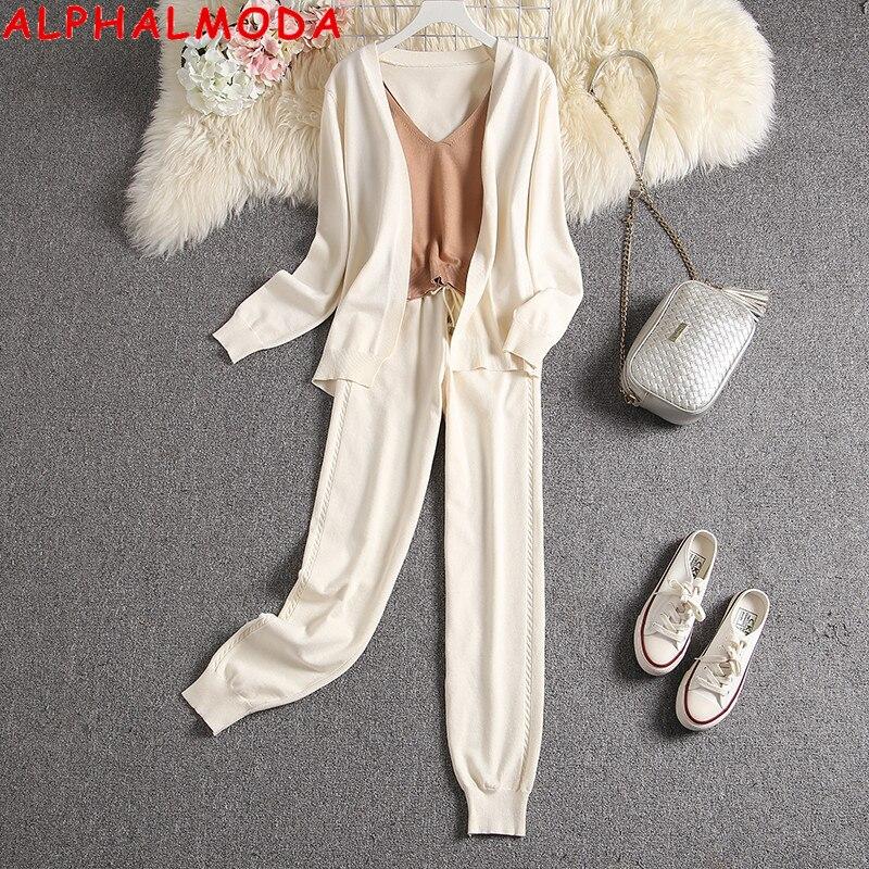 ألالفمودا 2020 الخريف الشتاء وصل حديثا المرأة 3 قطعة بدلة سترة سترة السراويل السيدات عالية الجودة مريح الحياكة صالة البدلة