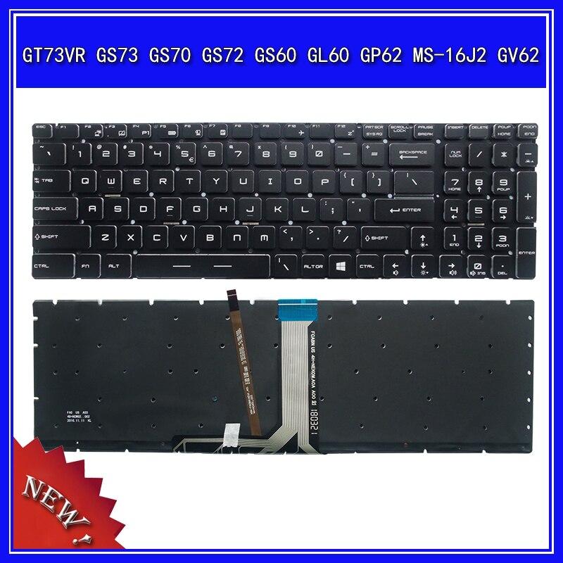 لوحة المفاتيح لابتوب MSI GT73VR GS73 GS70 GS72 GS60 GL60 GP62 MS-16J2 GV62 دفتر استبدال لوحة المفاتيح