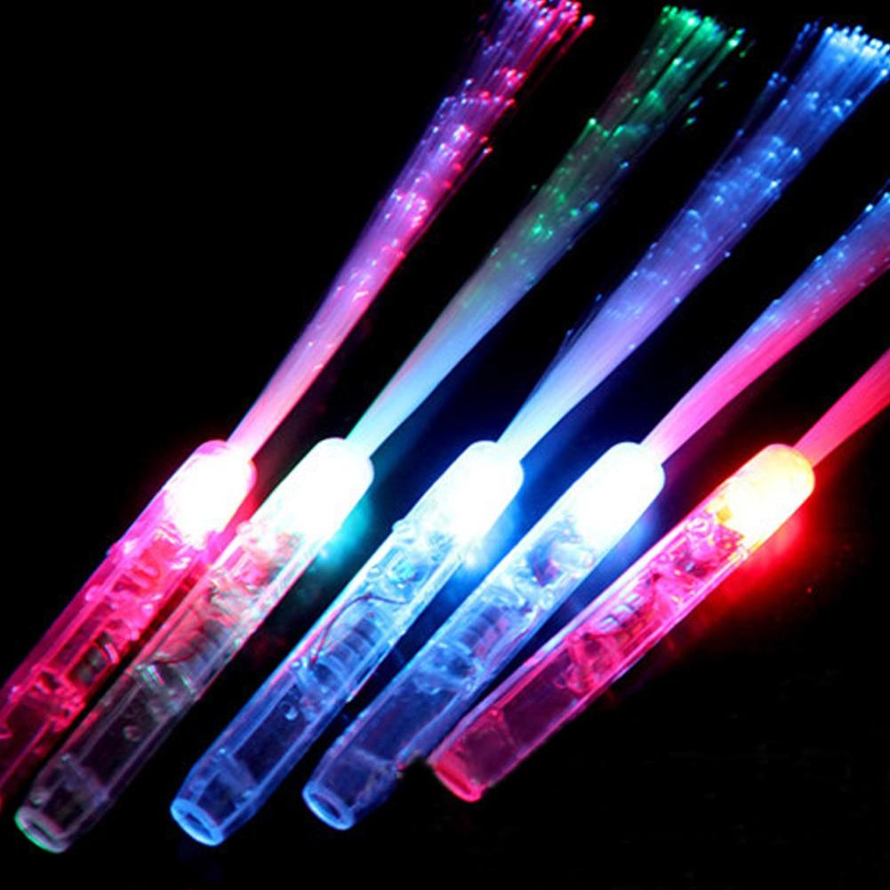 Varita de luz LED de fibra óptica, hada mágica colorida ilumina con pilas intermitentes para fiestas nocturnas
