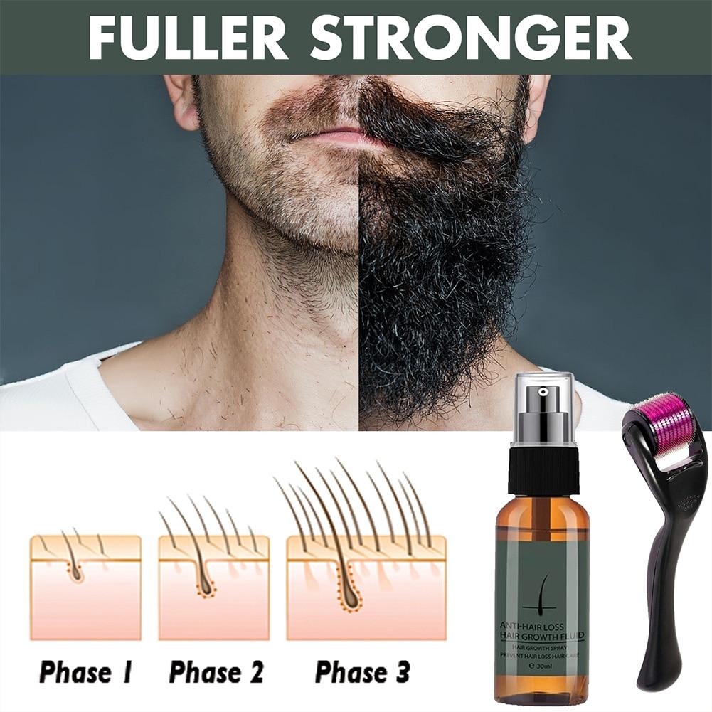 Men's Beard Growth Essence Nourishing Enhancer Beard Oil Spray Beard Care 40g Beard Growth Roller Se
