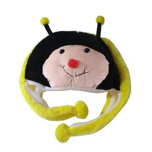 JOYHY Kids Boys Girls Cute Soft Plush Yellow Honey Bee  Earflap Animal Beanie Hats Children Cosplay Christmas Gifts Skull-caps