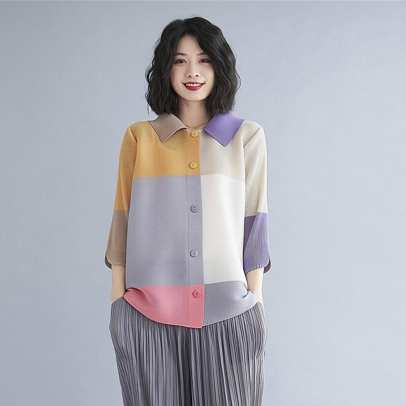 جديد miyakمطوي قمصان النساء الموضة البلوزات فضفاضة كبيرة الحجم 3/4 كم قمصان الإناث المد