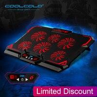 Кулер для ноутбука с 6 вентиляторами, охлаждающая подставка для ноутбука с 2 USB-портами и светодиодным экраном, 2600 об/мин, подставка-кулер для ...