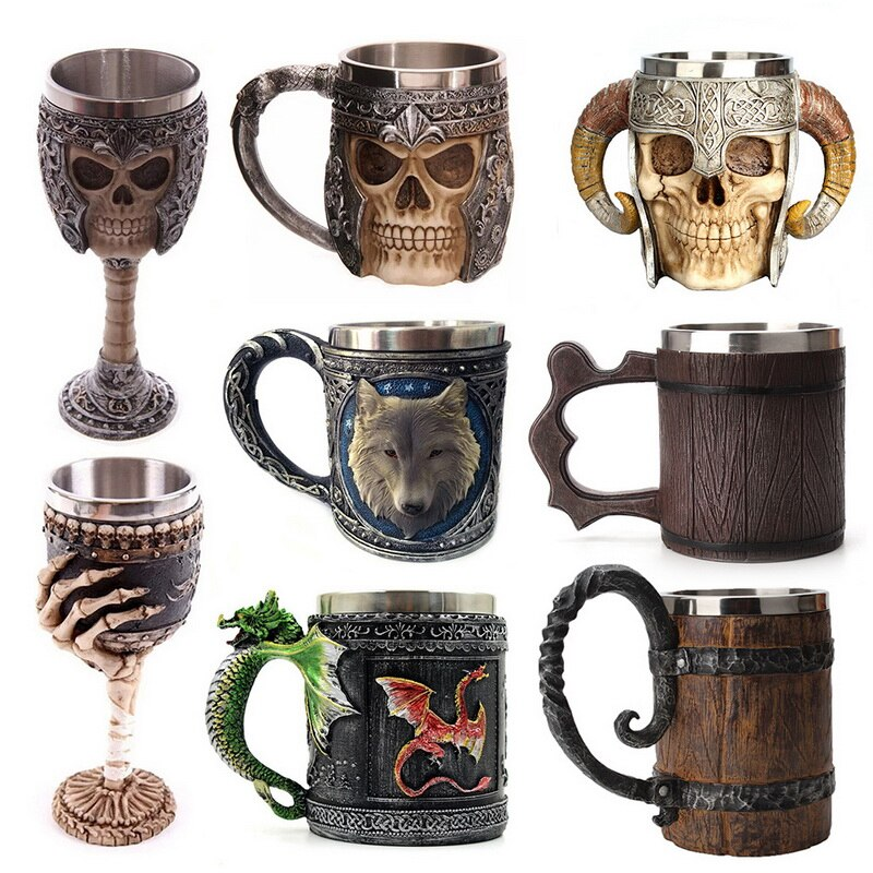 Retro Simulation Crude Mug Cup Wolf Head Stainless Steel Metal Drinking Beer Cup Coffee  450ML Cracks Resin Mugs top