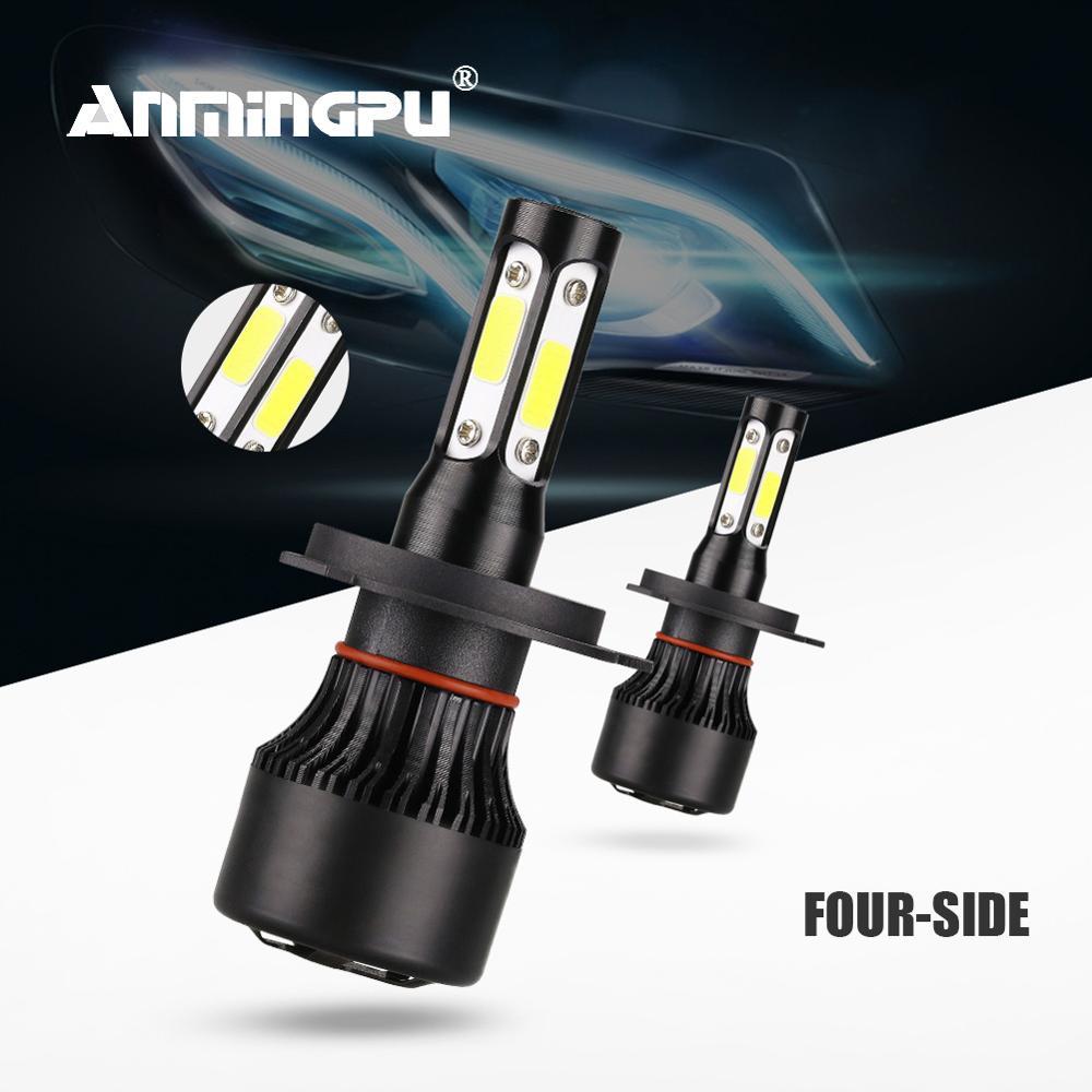 ANMINGPU 4 Sides H4 Led Headlight Bulbs 9012 Hir2 6500K 10000LM H7 Led Canbus H8 H9 H11 Led 9005 HB3 9006 HB4 Auto Led Headlamp