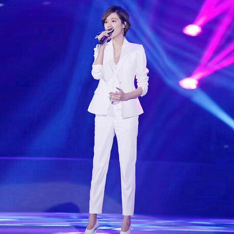 Star's same white suit suit female spring and autumn British fashion temperament slim professional suit coat