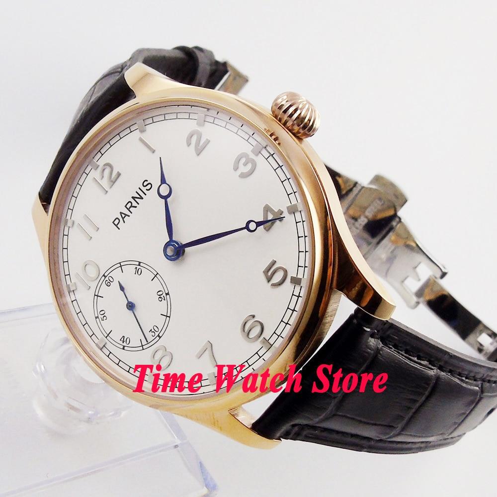 Parnis-ساعة يد رجالية ، 44 مللي متر ، 17 جوهرة ، 6497 ، مع قرص أبيض ، مطلية بالذهب الوردي ، علبة منشرة ، حزام جلدي ، 220