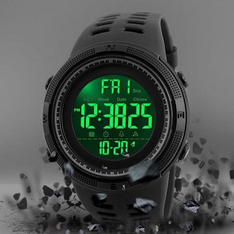 Gran oferta de relojes deportivos SKMEI para hombre, reloj despertador con cuenta atrás y Cronos para exteriores, reloj Digital LED resistente al agua, reloj Masculino