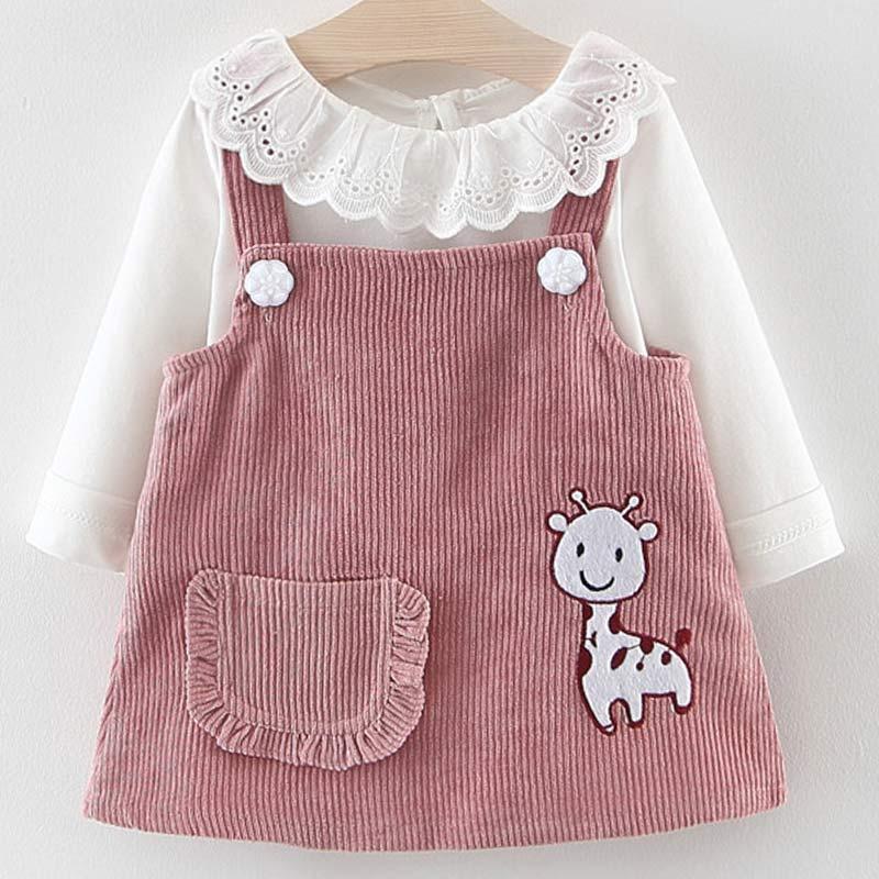 Платье для маленьких девочек, осенняя одежда принцессы для маленьких девочек, Милая футболка с длинными рукавами для девочек, топы, платье с...