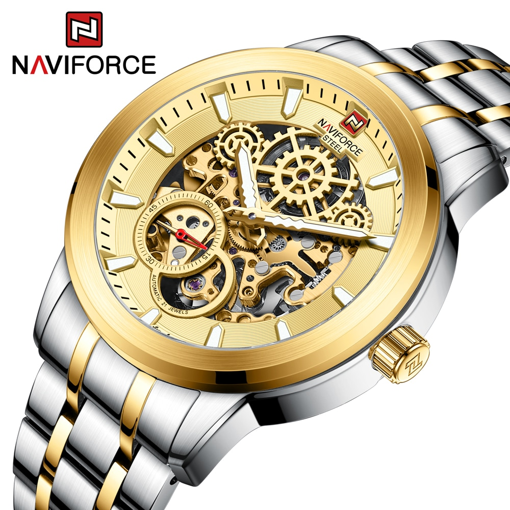 Solid Stainless Steel NF1002S Men's Mechanical Watches NAVIFORCE Brand Automatic Movement Design Men