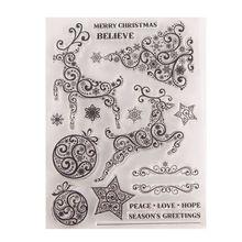 Xmas Deer Tree Silicone Clear Seal Stamp DIY Scrapbooking Embossing Photo Album