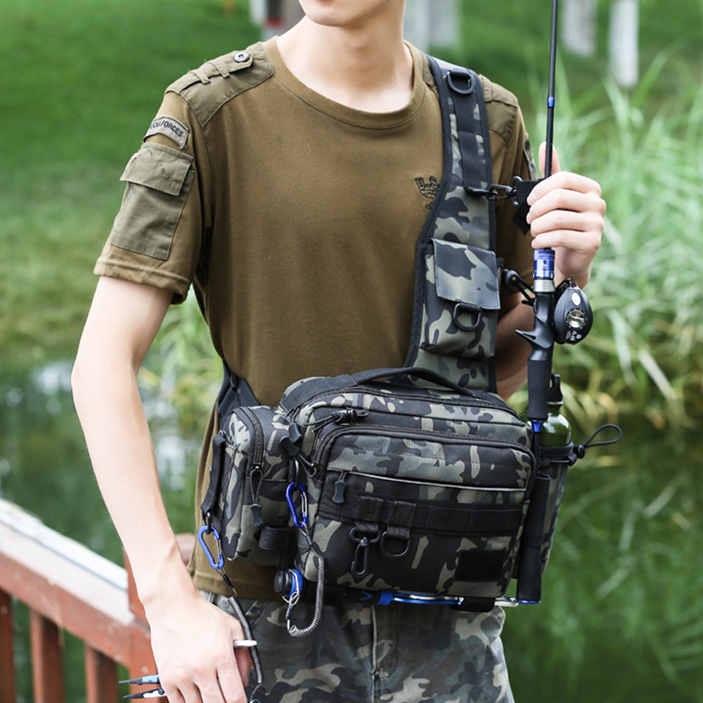 Fishing Bag Multifunctional Fishing Tackle Bags Single Shoulder Crossbody Bag Waist Pack Fish Lures Gear Utility Storage 1Pcs