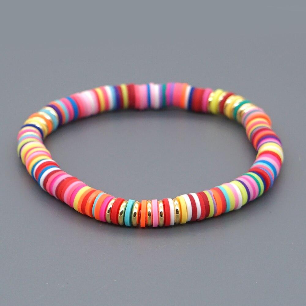 Pulsera GO2BOHO para mujer, brazaletes bohemios para mujer, Pulseras para mujer, cuentas de disco Heishi, Pulseras hechas a mano, joyería de Color Boho