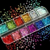 gold silver star shape holographic glitter nail sequins laser flakes paillette kit for nail art decorations gel charms manicure