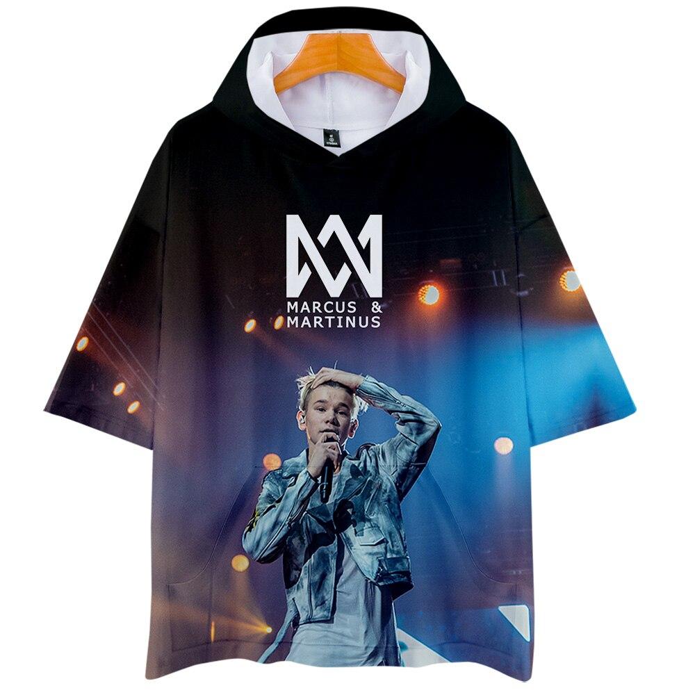 Marcus&Martinus Hooded T-shirts Women/Men Fashion Summer Short Sleeve Tshirts 2019 Hot Sale Casual 3D Printed Streetwear T Shirt