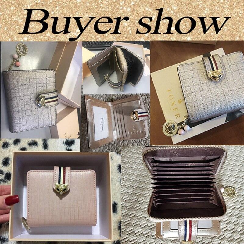Купить с кэшбэком FOXER Brand Valentine's Day Gift Women Luxury Short Wallet Cow Leather Ladies Money Bag Fashion Female Card Holder ID Case