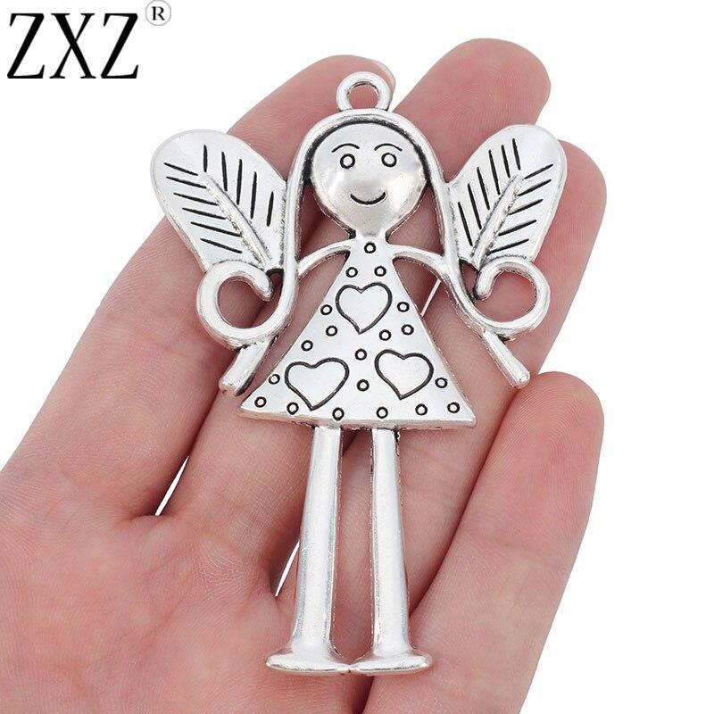 Zxz 2 pçs grande anjo menina de fadas encantos pingentes para colar jóias fazendo descobertas 80x54mm