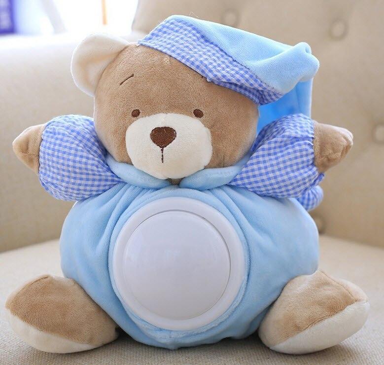 Милая кукла-мишка тедди 25 см, музыкальные легкие плюшевые куклы, удобная светодиодная ночник светодиодный Успокаивающая игрушка, мягкие ку...