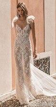 Illusion Strand vestidos de novia 2020 Hochzeit Kleid Spitze Applique Backless Brautkleider aliexpress indien robe de mariée