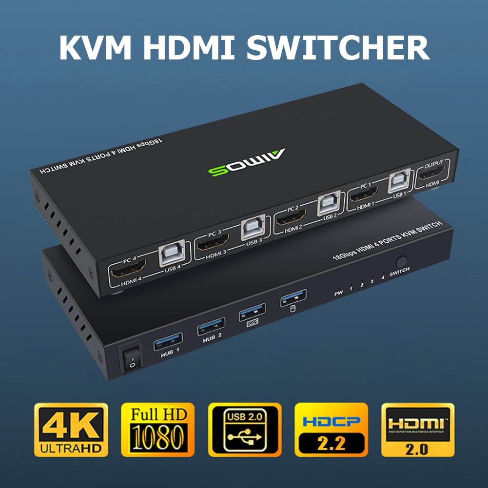 Practical HDMI-compatible KVM Switch Durable Multi-functional 4 Port 4K USB Switcher Splitter Box for Sharing Monitor Printer