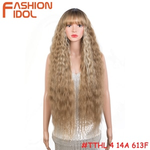 Blonde Lolita Wig With Bangs 613 Mixed Brown Cosplay Style Long Water Wave Anime Hair Synthetic Wig For White Women FASHION IDOL
