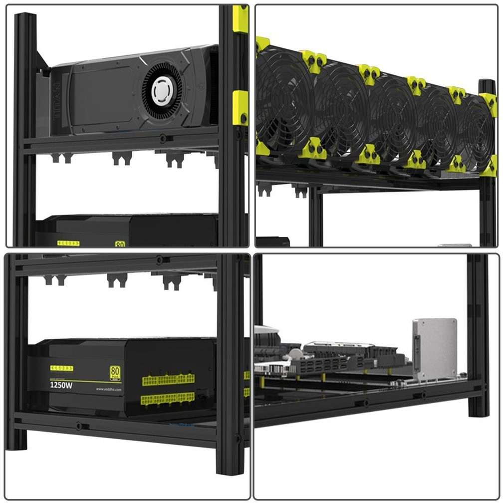 6 GPUs 5 Fans Low Noise Aluminum Stackable Open Air Mining Computer Frame Protective Net Mining Rack  Bitcoin