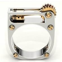 Anillo de rueda de engranaje mecánico geométrico para mujeres y hombres Color oro plata banda Punk de boda anillo de dedo Joyería Moderna anillo de fiesta