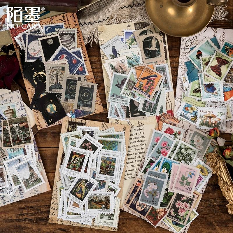 46-pz-pacco-retro-museo-filatelico-serie-adesivi-decorativi-scrapbooking-stick-etichetta-diario-album-cancelleria-timbro-adesivo