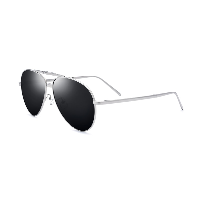 2021 New Titanium alloy Men Polarized Sunglasses Folding Glasses Silver Frame Black Lens