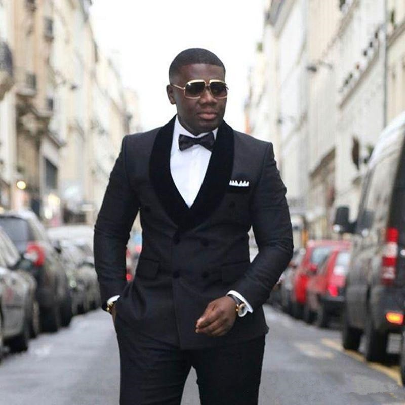 Stylish Design Groom Tuxedos Double Breasted Black Shawl Lapel Groomsmen Best Man Suit Mens Wedding Suits (Jacket+Pants+Tie)