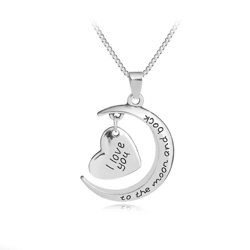 """Collar Simple para hombres y mujeres """"I love you to Moon & Back"""" pendientes con forma de luna corazón Carta para los mejores amigos amigas regalos de cumpleaños"""