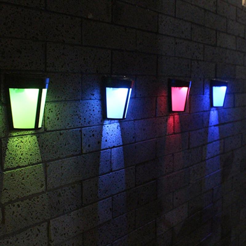 Solar lights outdoors LED colorful light fence lamp wall lamp waterproof garden courtyard park path corridor decorativ lamp 2pcs