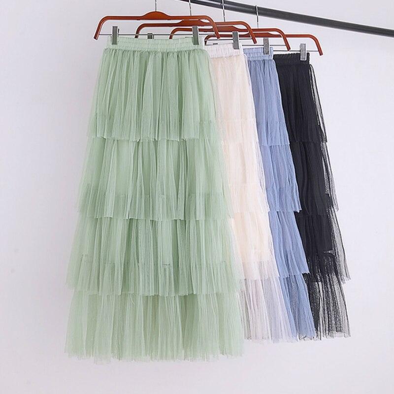 Dulce gasa de alta cintura en capas de tul faldas largas de tul sólido Cakee escalonado una línea de malla faldas largas azul verde rosa marfil