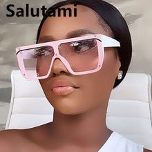 New Fashion Brand One Piece Rimless Pink Black Sunglasses For Women Vintage Square Flat Sun Glasses