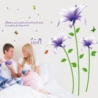 Autocollants muraux romantiques a fleurs de lys violets  papier peint decoratif pour salon  canape  chambre a coucher  sparadrap pour decoration de maison