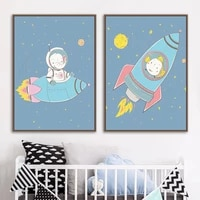 space rocket astronaut elephant fish dog pig wall art canvas painting nordic posters and prints wall pictures kids room decor