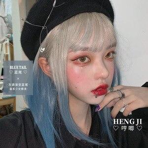 Heng Ji Lolita Wig Female Short Hair Blue Gray Color Gradient Face Repair Net Red Lolita wig Fashion Fake Hair Blue Tail