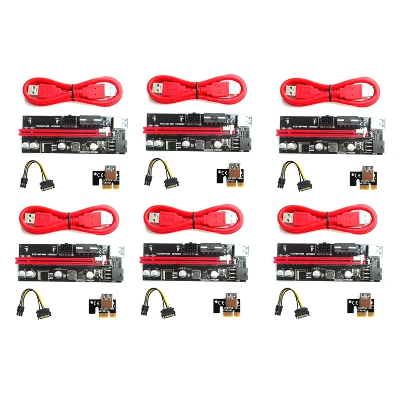 VER 009S PCIE Riser 1X إلى 16X بطاقة تمديد الرسومات لgpu التعدين حامل ممدد الكارت ، PCI Express محول ، 6-Pack